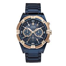 men s guess watches h samuel guess men s navy rose gold tone chronograph watch product number 2920719