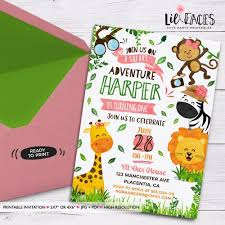 Safari Party Invitations Safari Girl Birthday Invitation Jungle Animals Girly Printable