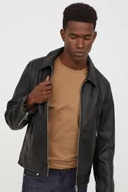 h m mens faux leather jacket black black outerwear