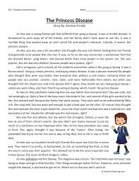 comprehension worksheet princess disease reading comprehension worksheet princess disease