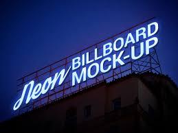 Neon Light Logo Mockup Free Electric Neon Sign Billboard Mockup Psd Good Mockups