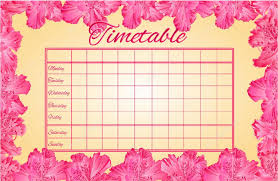 Timetable Weekly Schedule With Rhododendron Vector Stock Vector