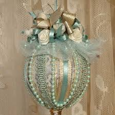 Handmade VICTORIAN CHRISTMAS Ornament / Keepsake - Vintage Style - Seafoam  - No10