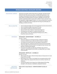sample human resource resume converza co