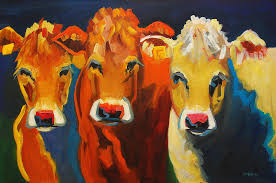 cow painting us three cows by diane whitehead