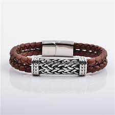 spanish silver snless steel metal charm brown genuine braided leather bracelets