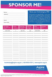 sponsorship forms for fundraising aspire fundraising pack