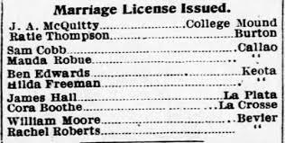 Marriage License for Mauda Robue - Newspapers.com