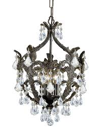 5 light english bronze crystal mini chandelier dd in clear spectra crystal