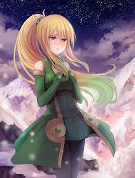 anime anime s long hair blonde green eyes stars clouds