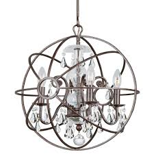 crystorama solaris 4 light clear crystal bronze mini chandelier