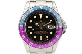 hq milton vintage rolex watches for vintage 1963 rolex gmt 1675 pcg gilt underline dial and fuchsia insert and papers