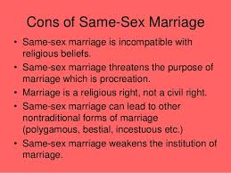 same sex marriage cons of same sex marriage•