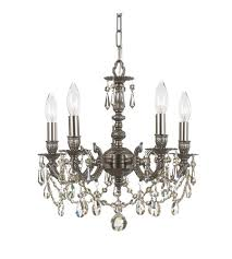 crystorama mirabella 5 light mini chandelier in pewter clear crystal hand cut 5505 pw cl mwp