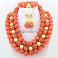 New Bead Designs Us 31 41 39 Off 2019 Orange Fashion African Beads Necklace Set Nigerian Wedding African Beads Jewelry Set Free Shipping Hd2531 In Jewelry Sets From