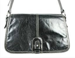 giani bernini black leather messenger satchel organizer shoulder bag purse vguc