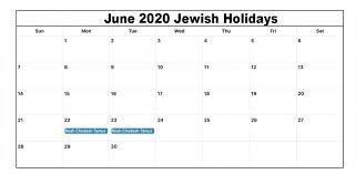 Jewish Holidays June 2020 Calendar Jewish Holidays