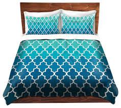 dianoche duvet covers twill by organic saturation aqua ombre quatrefoil contemporary duvet covers