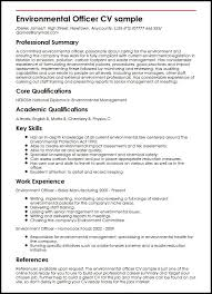 Professional Curriculum Vitae Template Fascinating Environmental Officer CV Sample MyperfectCV