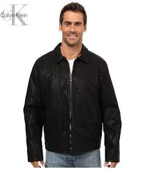 calvin klein coats and jackets faux leather shirt collar jacket black for men
