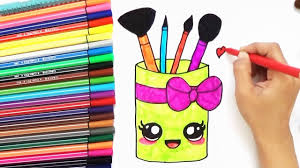 how to draw cute makeup brush holder easy bodraw