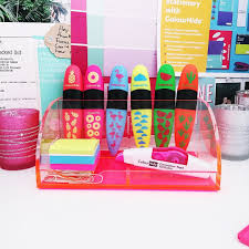 is there any greater way to brighten up a desk than fluorescent pink desk organiser