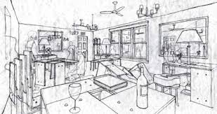 Modern interior two point perspective image.