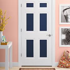 White interior door with blue painted panels
