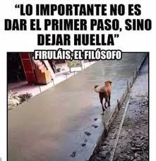 dopl3rcom - Memes - LO IMPORTANTE NO ES DAR EL PRIMER PASO SINO DEJAR  HUELLA FIRULIS EL FILSOFO