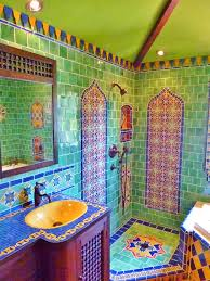 Moroccan Themed Bathroom Using Turkish Moroccan And Mexican Tiles - Mosaic bathrooms