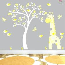 baby nursery yellow grey gender neutral. Wall Stickers For Baby Rooms Giraffe Decal Yellow And Grey Jungle Nursery Birds Gender Neutral Room Decor White Tree Mural Y