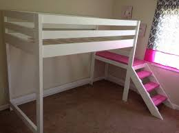 bunk bed with stairs for girls. Simple White Loft Bed Pink Stairs For Girls Bunk With F