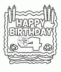 Small Picture Happy 4th Birthday Card coloring page for kids holiday coloring