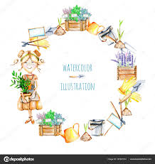wreath with watercolor cute gardener girl and garden tools ilrations stock photo