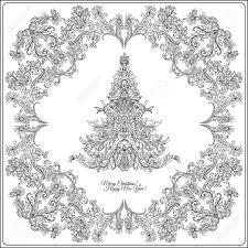 中世スタイルのレイアウト枠の装飾クリスマス ツリー概要図面の着色のページ大人のための塗り絵スト
