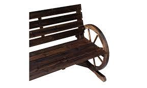 off on wagon wheel bench garden chai