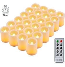 Kohree 24 Led Kerzen Mit Timer Und Fernbedienung Votivkerzen Flammenlose Kerzen Mit Batteriebetrieben 24 Leds Für Weihnachtsdeko Hochzeit
