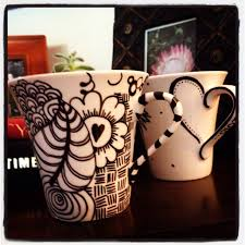 My sharpie mugs, Jam got a Sharpie mug, with a most fantastic dinosaur  drinking