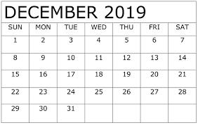 December 2019 Calendar Printable Execute Your Plan