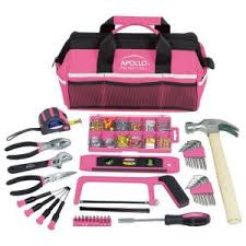 pink tool set. apollo household tool kit in soft-sided bag, pink (201-piece)-dt0020p - the home depot set