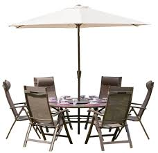 6 seater garden dining table set with 3m parasol royalcraft florence