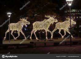 Moose Christmas Lights Christmas Moose Herd Made Of Led Light Stock Photo