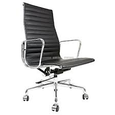 eames inspired office chair. Eames Inspired High Back Ribbed Office Chair In Black Leather