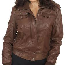 front pocket brown leather er jacket for women