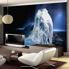 customized any size white horse wall art painting photo 3d wall 3d wall art new design