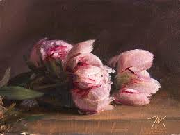 daily painting titled market day peonies