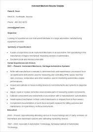 Sample Instrument Mechanic Resume Template
