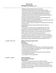 Resume of RICHARD M. FISHER, Pharm D ...