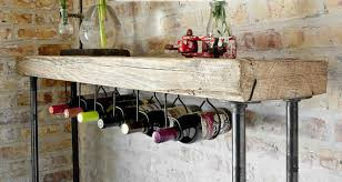 Industrial Reclaimed Wood Console TableWine bar with pipe