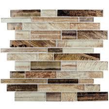 Kitchen Tile Backsplash Lowes Shop Elida Ceramica Laser Metallic Earth Linear Mosaic Glass Wall